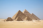 A picture of several pyramids of varying heights side-to-side.