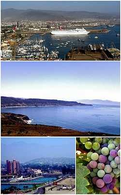Images from top, left to right: Carnival Paradise docked in the Port of Ensenada, Bahía Todos Santos, Villa Marina Hotel, Grapes from the Guadalupe Valley