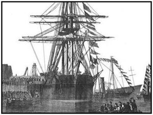 An etching of HMS Resolute from December 1856.