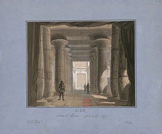 Set design by Philippe Chaperon for Act 1, Scene 2 at the Cairo première.