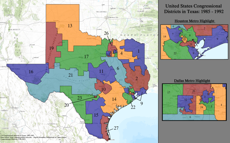 United States Congressional Districts in Texas, 1985–1992.tif