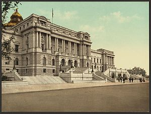 color postcard of west front of Library of Congress Jefferson Builsing