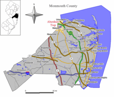 Map of Aberdeen Township in Monmouth County. Inset: Location of Monmouth County highlighted in the State of New Jersey.