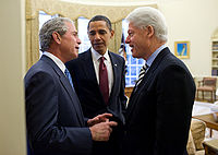 Presidents Obama, Bush, and Clinton discuss the earthquake.