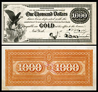 $1,000 Gold Certificate, Series 1865, Fr.1166e, with a vignette of an eagle and shield (left) and justice (bottom center).