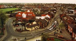 Rayleigh High Street as seen from the top of Holy Trinity Church, 2003