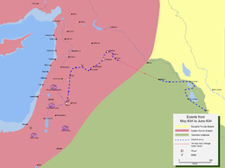 Map detailing the route of Khalid ibn Walid's invasion of Syria.