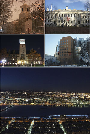 Clockwise from top left: Christ Church, University Hall at Harvard University, Ray and Maria Stata Center at the Massachusetts Institute of Technology, the Cambridge skyline and Charles River at night, and Cambridge City Hall.