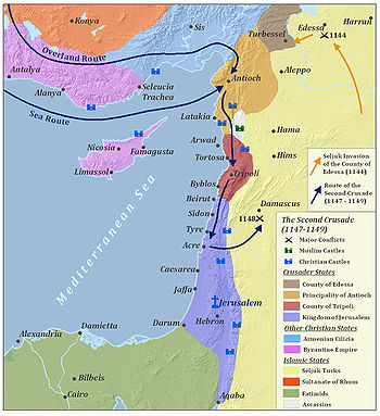 A map of the major battles of the Second Crusade in the Levant, located in the eastern Mediterranean. The major conflict locations and the routes of the Second Crusade are marked. To the north are the Byzantine Empire and the Principality of Armenian Cilicia. The Seljuq Turks are located across the east side of the map. To the left of the Seljuqs are Crusader states, from north to south: the County of Edessa, the Principality of Antioch, the County of Tripoli and the Kingdom of Jerusalem. To the south are the Fatimids, mainly located in the Sinai Peninsula and modern-day Egypt.