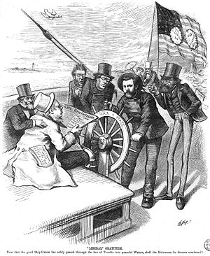 A Thomas Nast cartoon depicting Grant steering a ship and being challenged by opponents during presidential election of 1872.