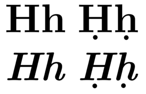 Non-italicized and italicized upper- and lowercase H, with and without under-dotting