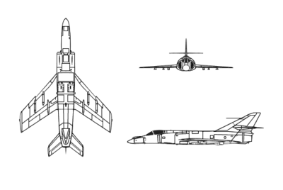 Orthographically projected diagram of the Dassault-Breguet Super Étendard