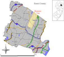 Map of Montclair in Essex County. Inset: Location of Essex County in the State of New Jersey.