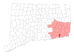 Location in New London County, Connecticut