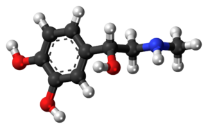 Ball-and-stick model of the adrenaline molecule