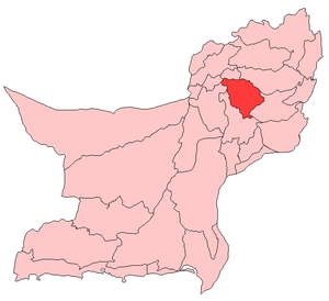 Map of Balochistan with Sibi District higlighted