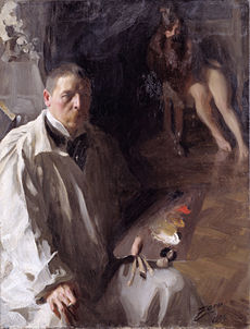 Painting shows a man in the foreground with a loose-fitting white outfit and a mustache holding a wooden palette with his paints. A pair of feminine legs are visible upper right.
