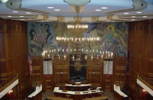 Chandelier in House of Representatives, Indiana Statehouse.JPG
