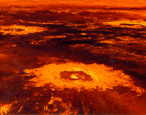 The plains of Venus are outlined in red and gold, with impact craters leaving golden rings across the surface