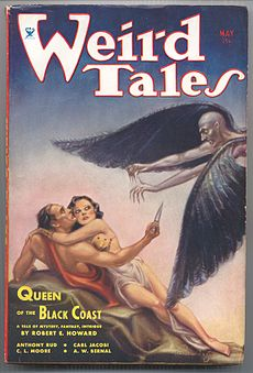 Magazine cover showing a man and a woman under attack from a winged man