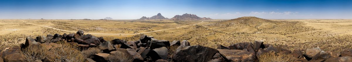 An panoramic of the Namib Desert in the area of Spitzkoppe