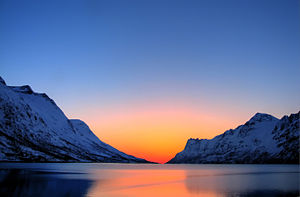 A sunset in the arctic region.