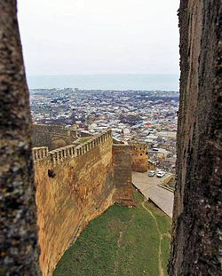 Wall of the Derbent citadel — One if not the largest extant Sassanid fortification(s) in the world.
