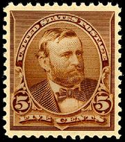 Image of first Grant U.S. Postage stamp, issued in 1890, brown, five cents