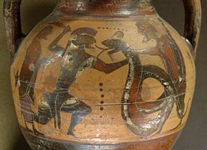 Euboean amphora, c.550 BCE, depicting the fight between Cadmus and a dragon