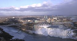 The city of Niagara Falls. In the foreground is the waterfall named Niagara Falls.