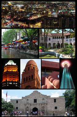 From top to bottom and Left to Right: 1. San Antonio downtown from the Tower of The Americas at night. 2. The Riverwalk 3. The McNay Museum of Art 4. The Tower Life Building 5. Bexar County courthouse 6. San Antonio Public Library 7. The Tower of the Americas at night 8. The Alamo