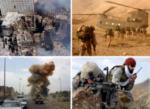 Clockwise from top left: Aftermath of the 11 September attacks; American infantry in Afghanistan; an American soldier and Afghan interpreter in Zabul Province, Afghanistan; explosion of an Iraqi car bomb in Baghdad