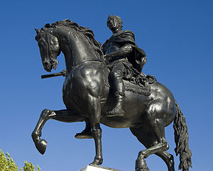 Statue of a rider on a horse