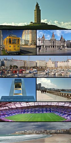 Top: Hercules Tower. 2nd: tramway (left),  City Hall (right). 3rd: Dársena Deportiva yacht marina. 4th row: A Coruña Marine Control Tower (left) San Antón Paseo waterfront area (right). 5th: Estadio Riazor .Bottom: Panorama of A Coruña city centre and Orzán Beach.