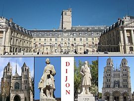 Top: Dijon City Hall, Bottom: Saint Benigne Cathedral, Statue of Jean-Philippe Rameau, Statue of Francois Rude, Saint Michel Church