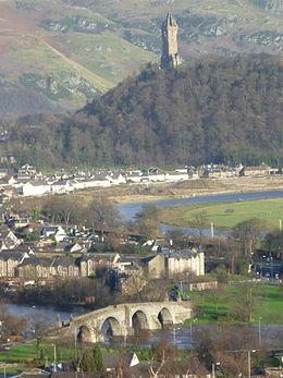 Old Stirling Bridge and the Abbey Craig with the Wallace Monument, Stirling Scotland.jpg