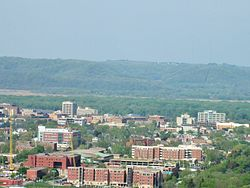 UW-La Crosse campus and downtown La Crosse as seen from the east bluffs
