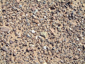 photograph of desert pavement, small stones left behind by wind