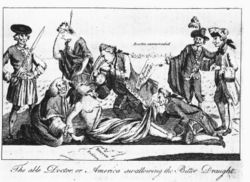 A 1774 etching from The London Magazine, copied by Paul Revere of Boston. Prime Minister Lord North, author of the Boston Port Act, forces the Intolerable Acts down the throat of America, whose arms are restrained by Lord Chief Justice Mansfield while the 4th Earl of Sandwich pins down her feet and peers up her skirt. Behind them, Mother Britannia weeps helplessly.