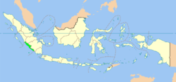 Location of Bengkulu (marked in light green) in Indonesia