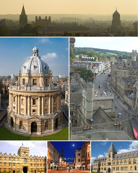 From top left to bottom right: Oxford skyline panorama from St Mary's Church; Radcliffe Camera; High Street from above looking east; University College; High Street by night; Natural History Museum and Pitt Rivers Museum.