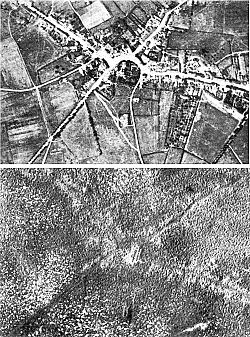 Aerial view of the village of Passchendaele