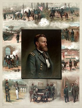 Colored print of portrait of Grant surrounded by scenes from his military career