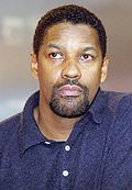 Photo of Denzel Washington after a performance of Julius Caesar in May 2005.