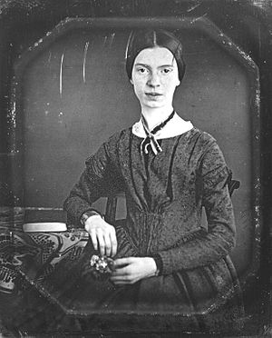 Photograph of Emily Dickinson, seated, at the age of 16