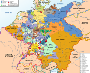 map of the Holy Roman Empire (central Europe) in 1789 showing the several hundred states, in different colours