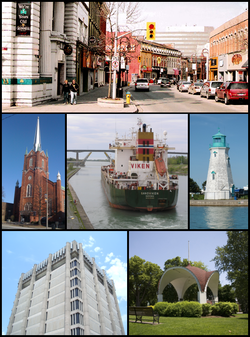 From top left: The corner of St. Paul and Queen streets, the Silver Spire United Church on St. Paul, a ship traversing the Welland Canal with the Garden City Skyway in the background, the lighthouse of Port Dalhousie, the Arthur Schmon Tower of Brock University, and the gazebo in Montebello Park