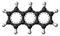 Ball-and-stick model of the anthracene molecule