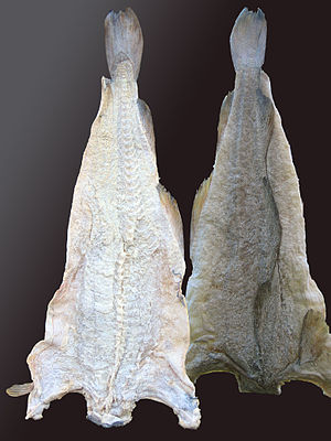Two triangular pieces of hung, preserved cod; the nearer piece is more brightly lit.
