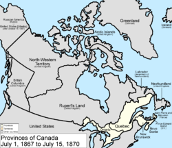 Map of the Dominion of Canada on July 1, 1867, showing the nation's provinces of Ontario (southern portion only), Quebec (southern portion only), New Brunswick, and Nova Scotia in the colour white